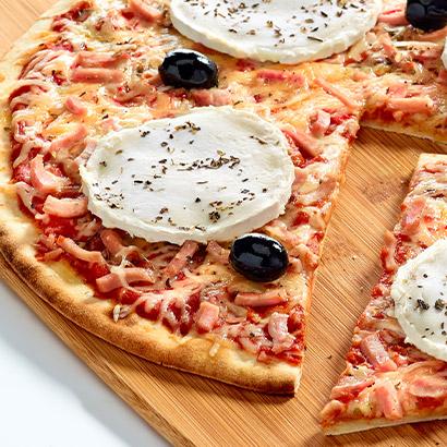 Pizza familiale Chèvre lardons
